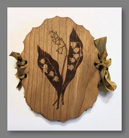 "Victorian Wooden Needle Book ""Lily of the Valley"""